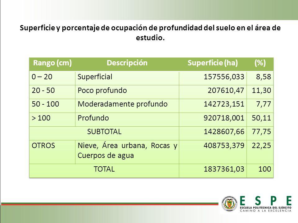 Superficie y porcentaje de ocupación de profundidad del suelo en el área de estudio.