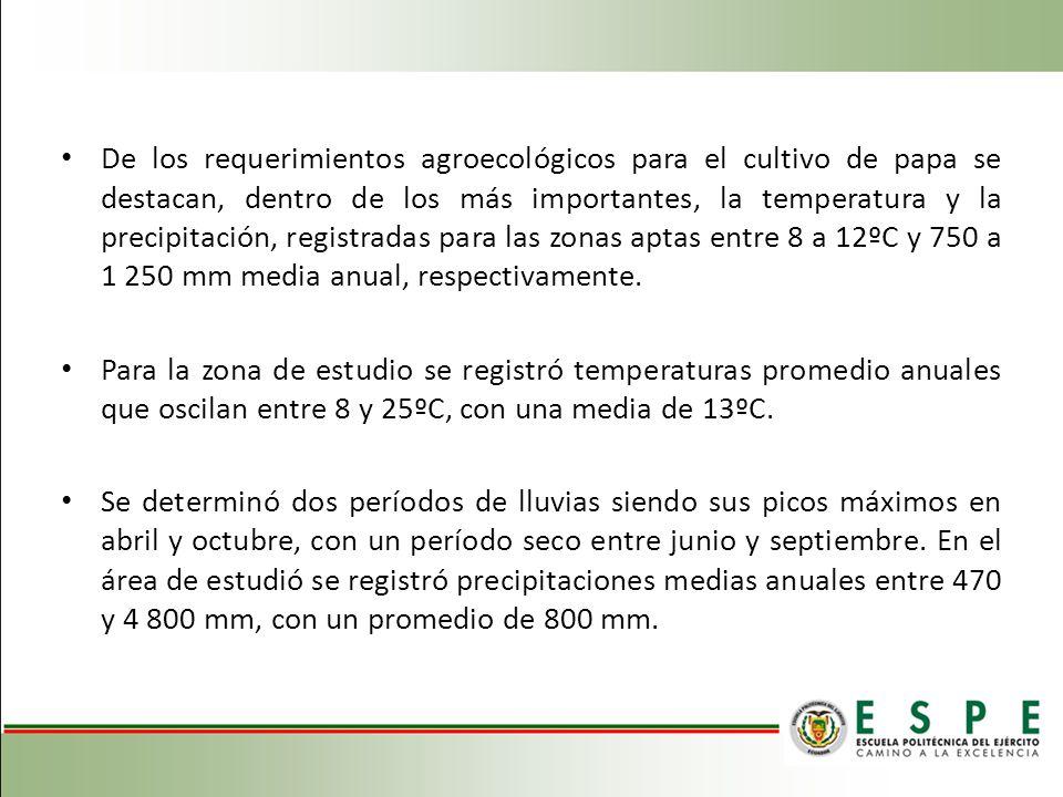 De los requerimientos agroecológicos para el cultivo de papa se destacan, dentro de los más importantes, la temperatura y la precipitación, registradas para las zonas aptas entre 8 a 12ºC y 750 a 1 250 mm media anual, respectivamente.