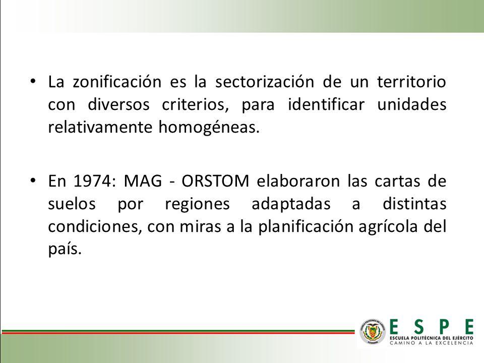 La zonificación es la sectorización de un territorio con diversos criterios, para identificar unidades relativamente homogéneas.