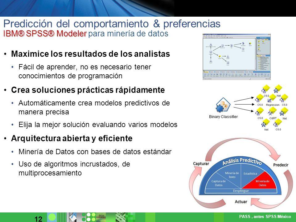 Predicción del comportamiento & preferencias IBM® SPSS® Modeler para minería de datos