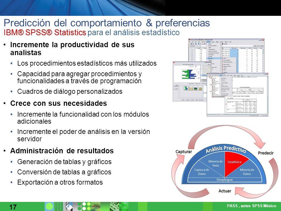 Predicción del comportamiento & preferencias IBM® SPSS® Statistics para el análisis estadístico