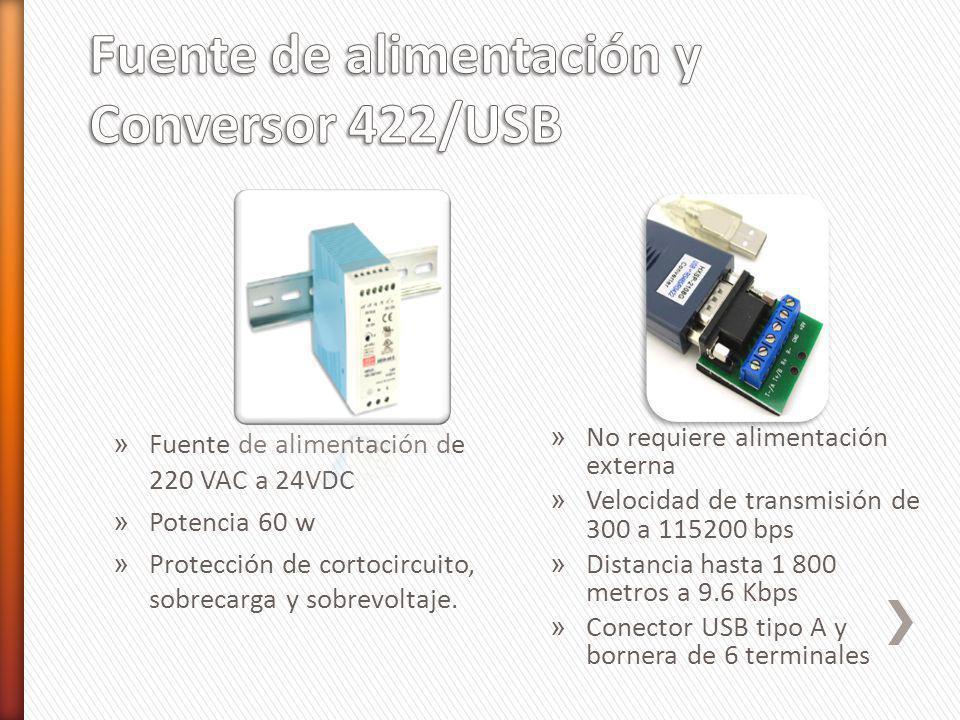 Fuente de alimentación y Conversor 422/USB