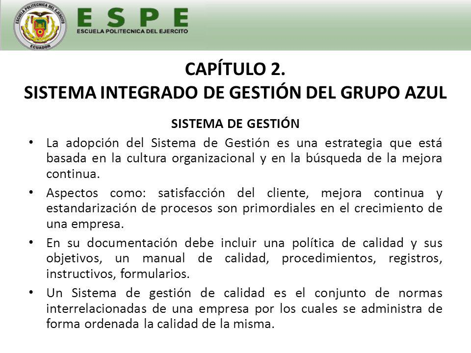 CAPÍTULO 2. SISTEMA INTEGRADO DE GESTIÓN DEL GRUPO AZUL