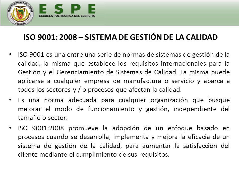 ISO 9001: 2008 – SISTEMA DE GESTIÓN DE LA CALIDAD