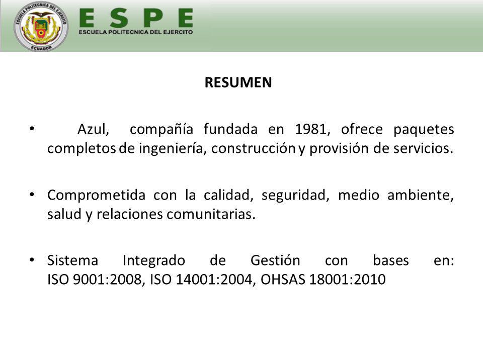 RESUMEN Azul, compañía fundada en 1981, ofrece paquetes completos de ingeniería, construcción y provisión de servicios.