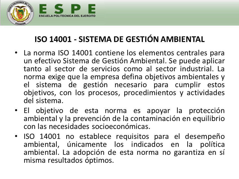 ISO 14001 - SISTEMA DE GESTIÓN AMBIENTAL