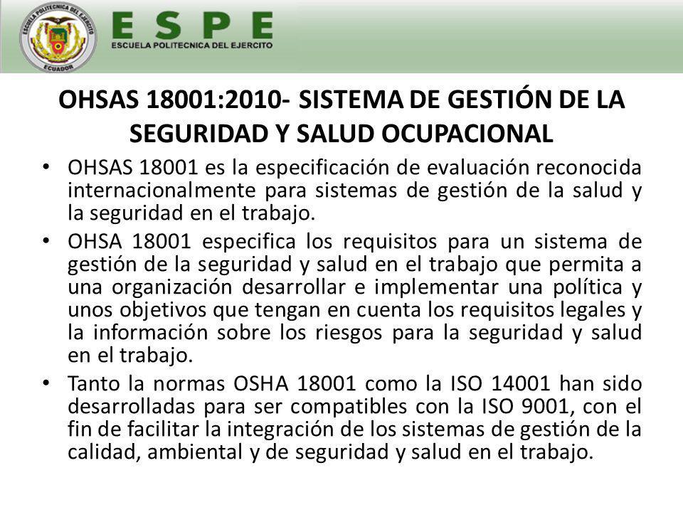 OHSAS 18001:2010- SISTEMA DE GESTIÓN DE LA SEGURIDAD Y SALUD OCUPACIONAL