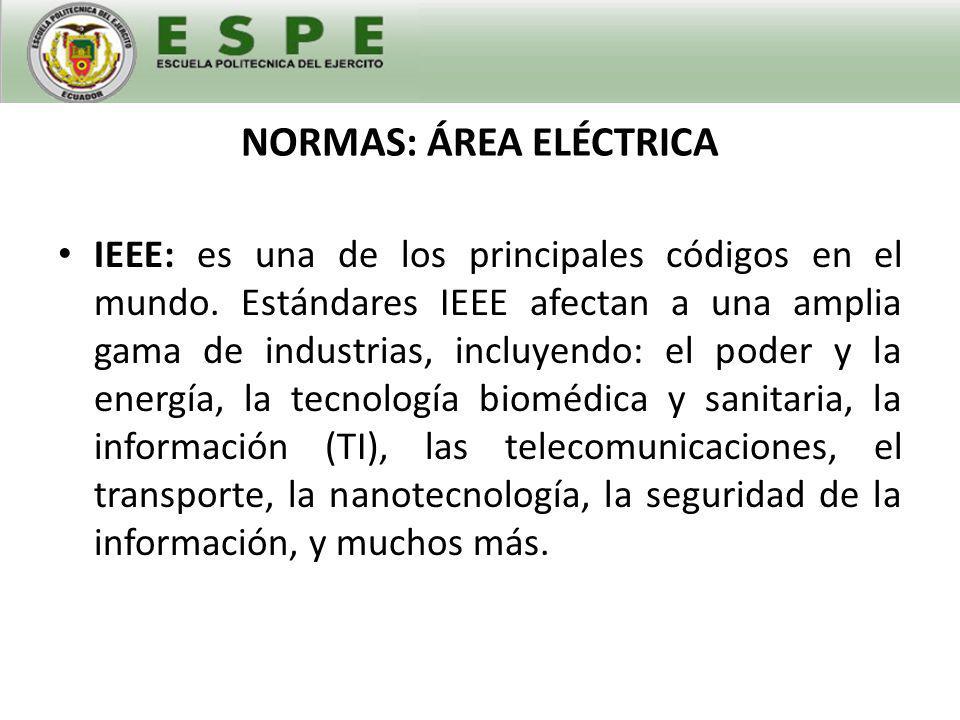 NORMAS: ÁREA ELÉCTRICA