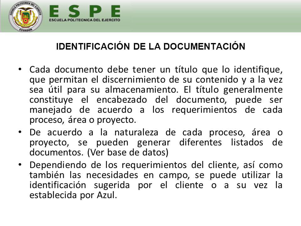 IDENTIFICACIÓN DE LA DOCUMENTACIÓN