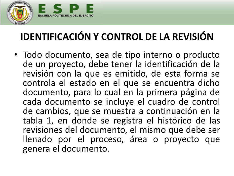 IDENTIFICACIÓN Y CONTROL DE LA REVISIÓN
