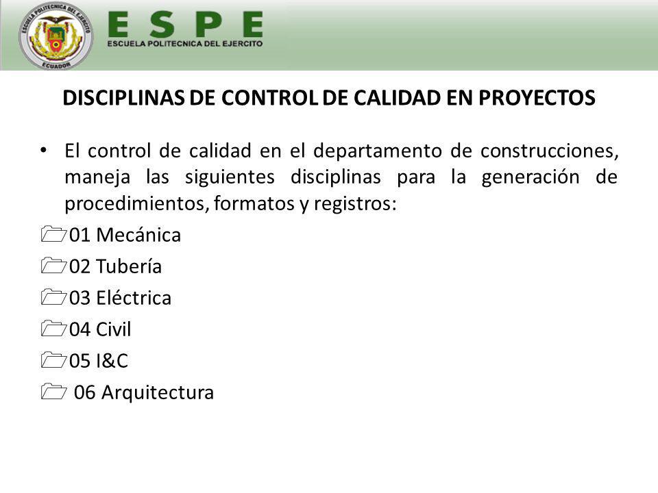 DISCIPLINAS DE CONTROL DE CALIDAD EN PROYECTOS