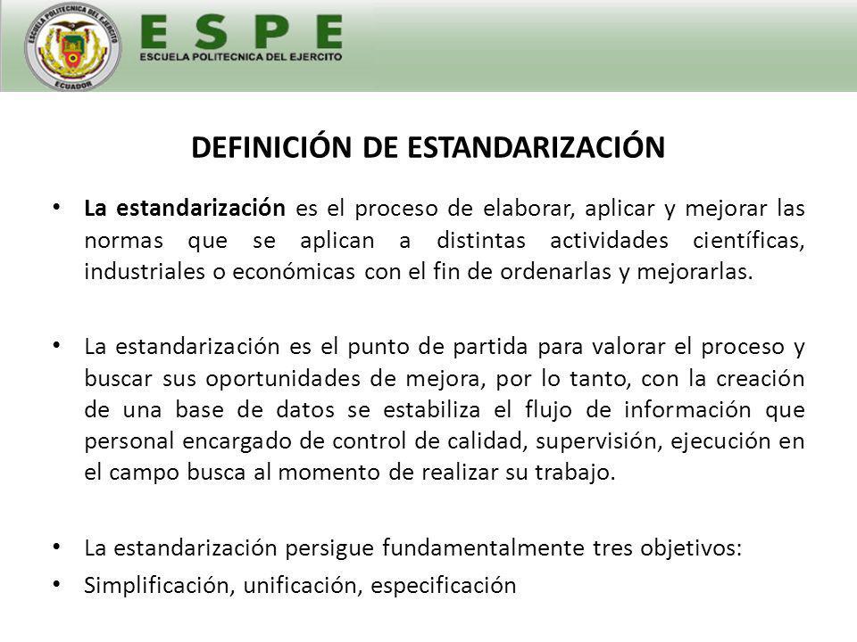 DEFINICIÓN DE ESTANDARIZACIÓN