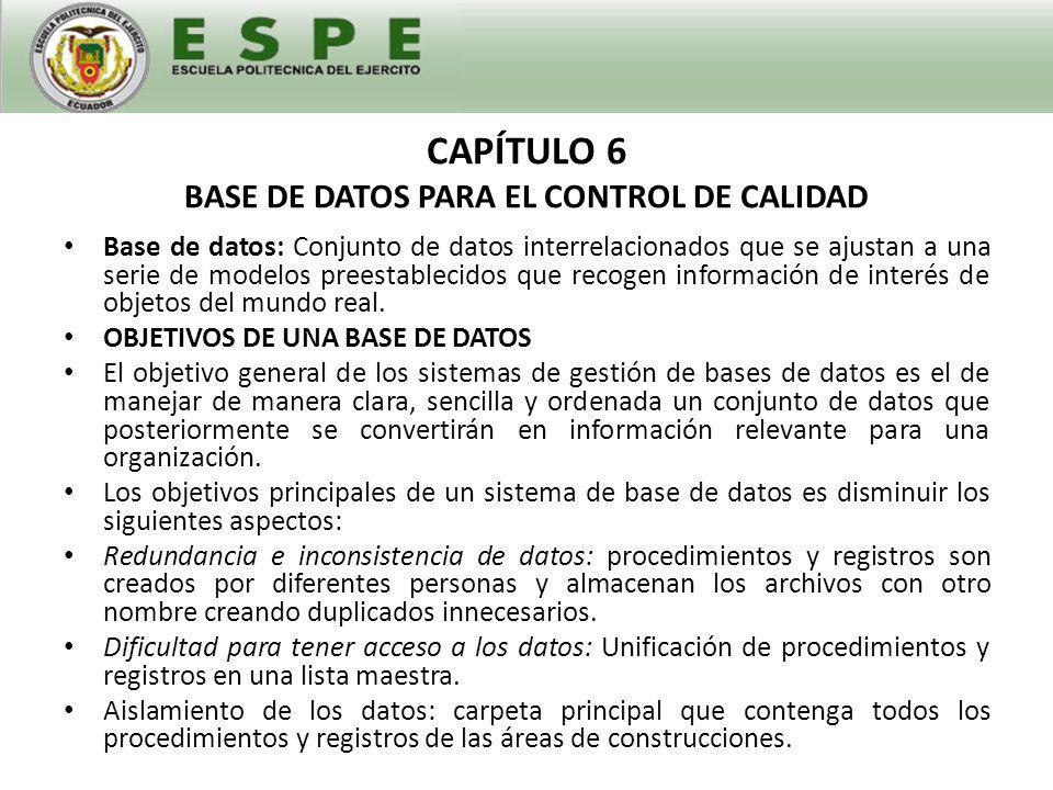 CAPÍTULO 6 BASE DE DATOS PARA EL CONTROL DE CALIDAD