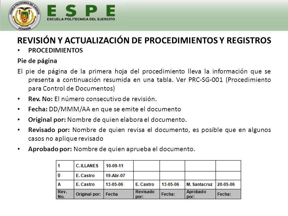 REVISIÓN Y ACTUALIZACIÓN DE PROCEDIMIENTOS Y REGISTROS