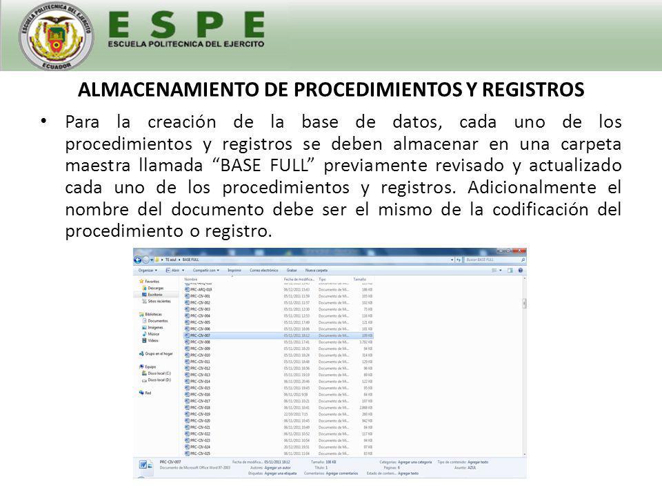 ALMACENAMIENTO DE PROCEDIMIENTOS Y REGISTROS
