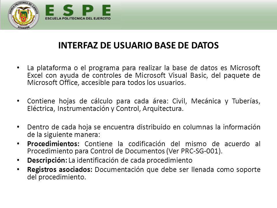 INTERFAZ DE USUARIO BASE DE DATOS