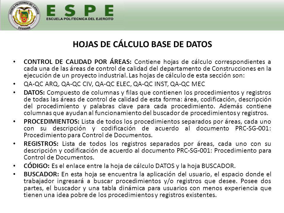 HOJAS DE CÁLCULO BASE DE DATOS