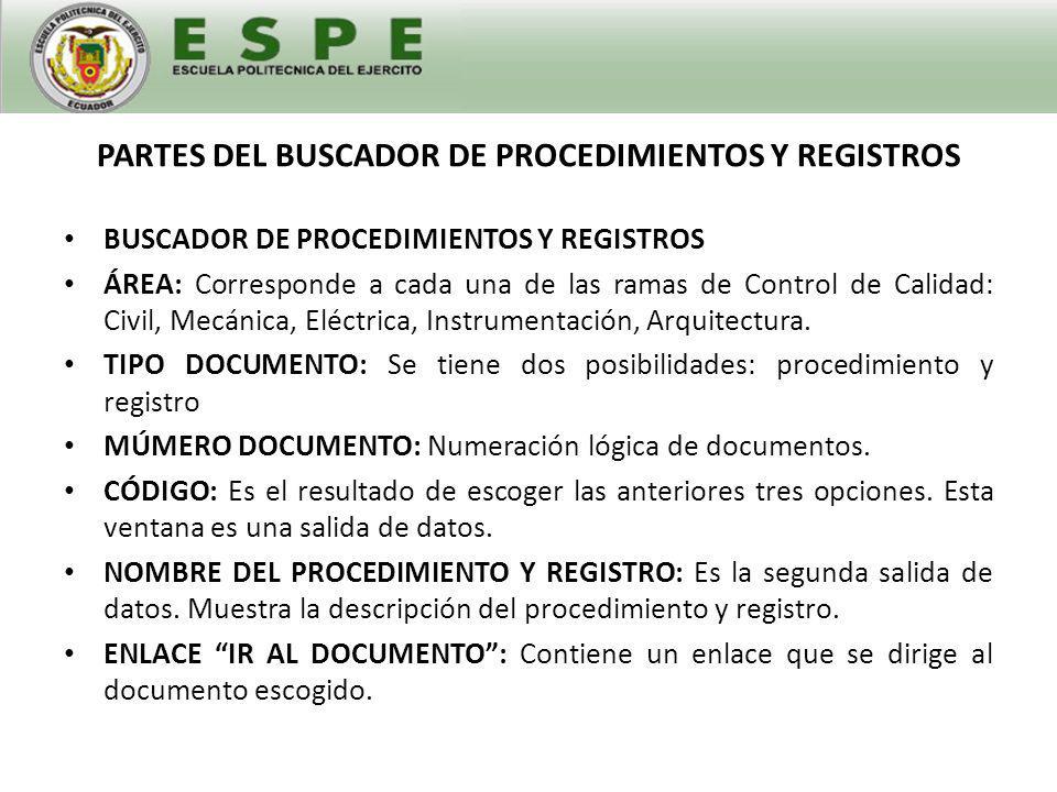 PARTES DEL BUSCADOR DE PROCEDIMIENTOS Y REGISTROS