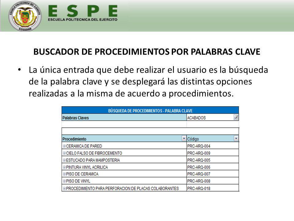 BUSCADOR DE PROCEDIMIENTOS POR PALABRAS CLAVE