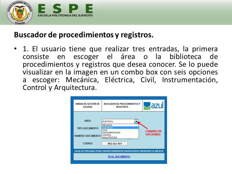 Buscador de procedimientos y registros.