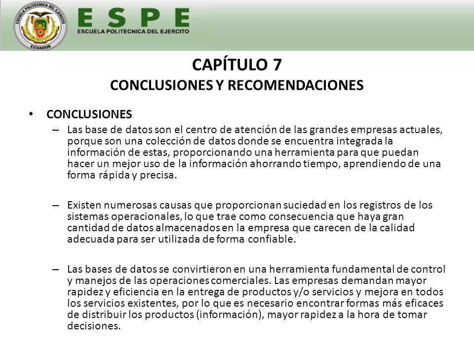 CAPÍTULO 7 CONCLUSIONES Y RECOMENDACIONES