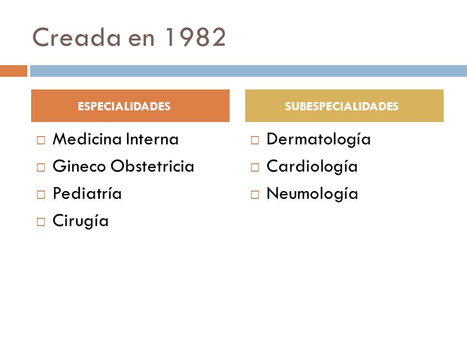 Creada en 1982 Medicina Interna Gineco Obstetricia Pediatría Cirugía