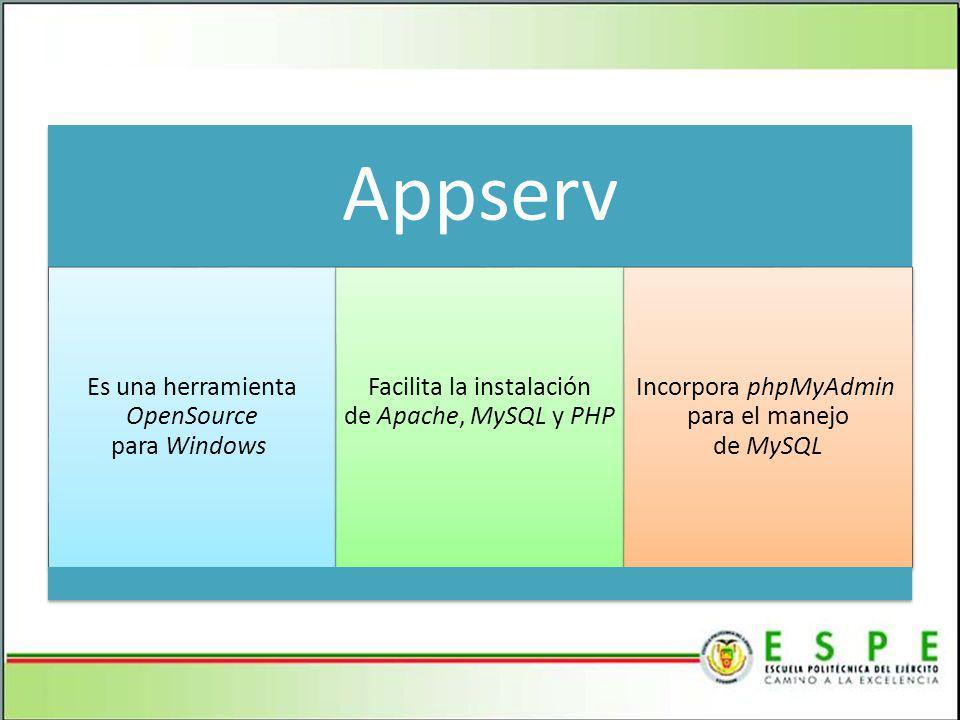 Appserv Es una herramienta OpenSource para Windows