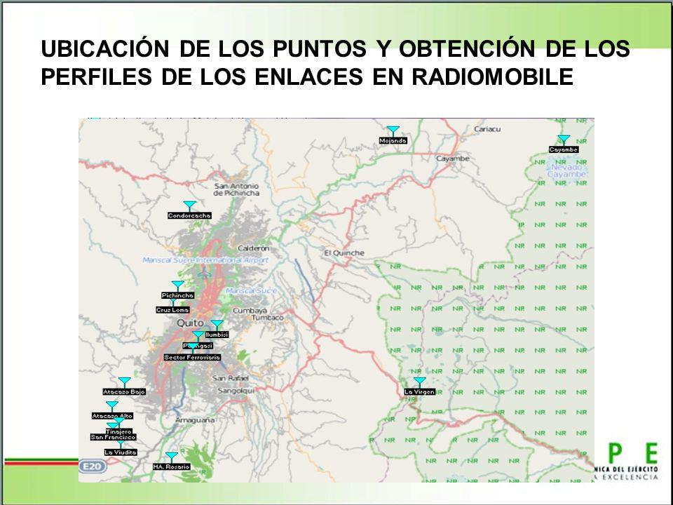 UBICACIÓN DE LOS PUNTOS Y OBTENCIÓN DE LOS PERFILES DE LOS ENLACES EN RADIOMOBILE