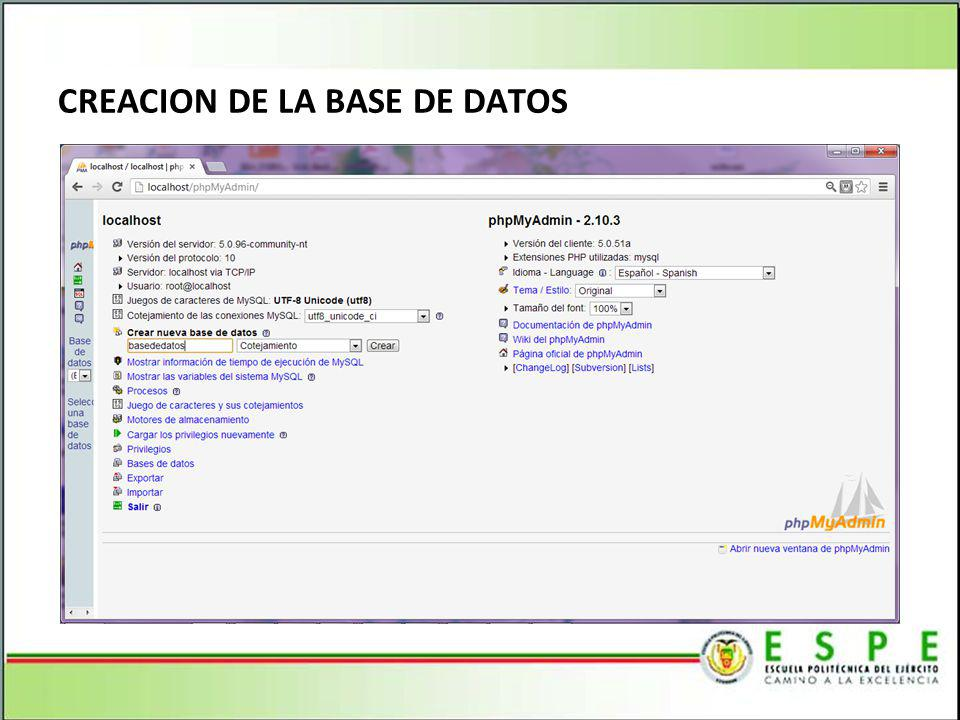 CREACION DE LA BASE DE DATOS
