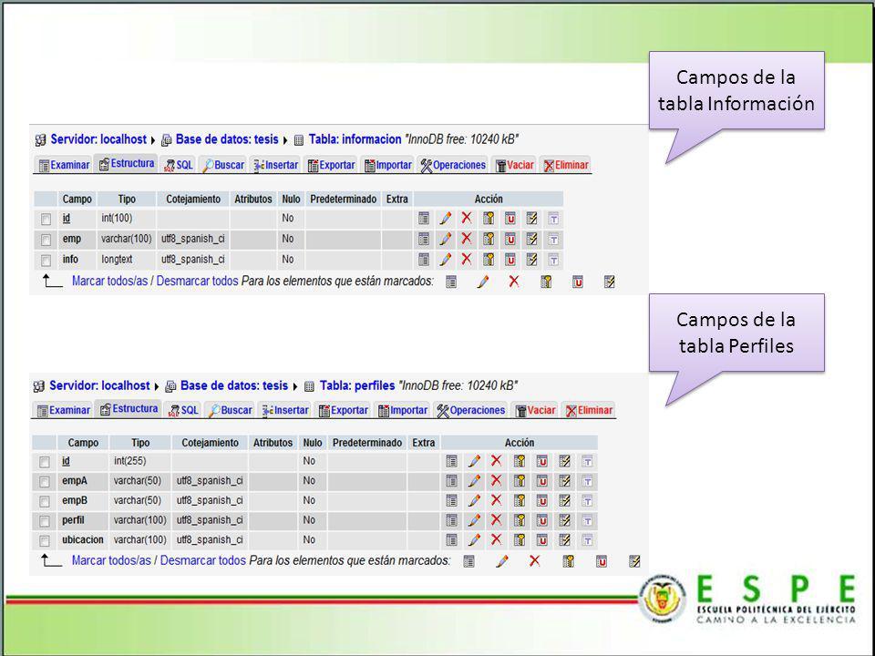 Campos de la tabla Información