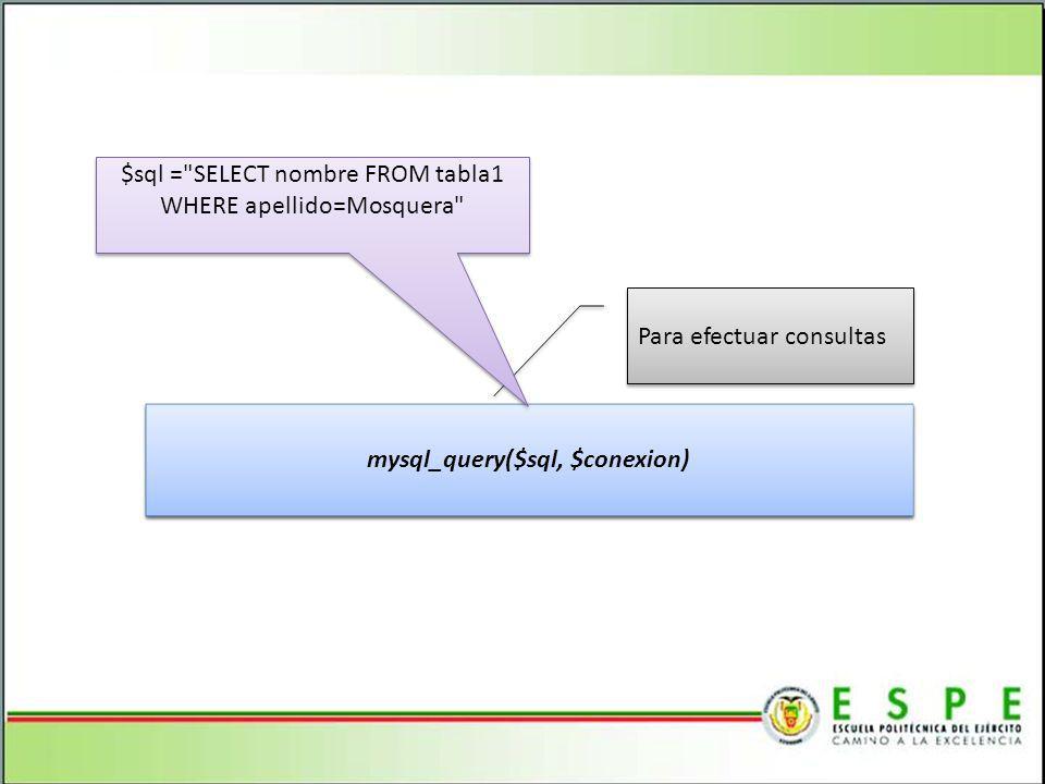 mysql_query($sql, $conexion)