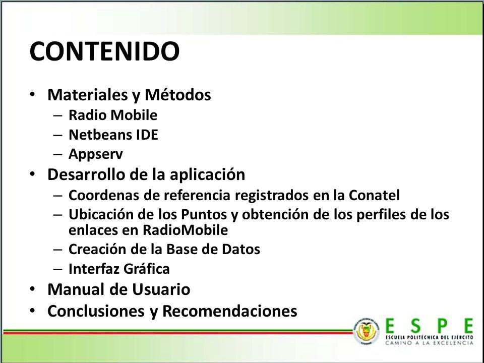 CONTENIDO Materiales y Métodos Desarrollo de la aplicación