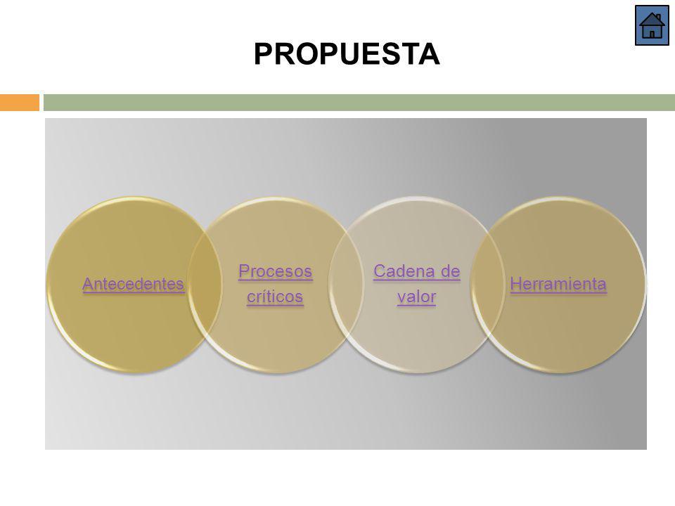 PROPUESTA Antecedentes Procesos críticos Cadena de valor Herramienta
