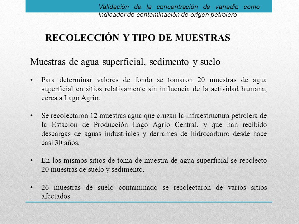 RECOLECCIÓN Y TIPO DE MUESTRAS