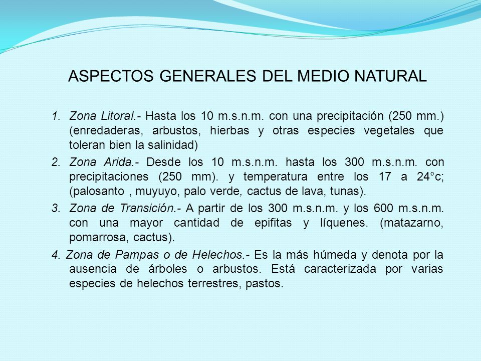 ASPECTOS GENERALES DEL MEDIO NATURAL