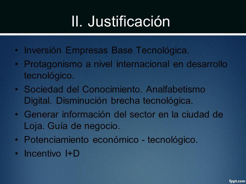 II. Justificación Inversión Empresas Base Tecnológica.