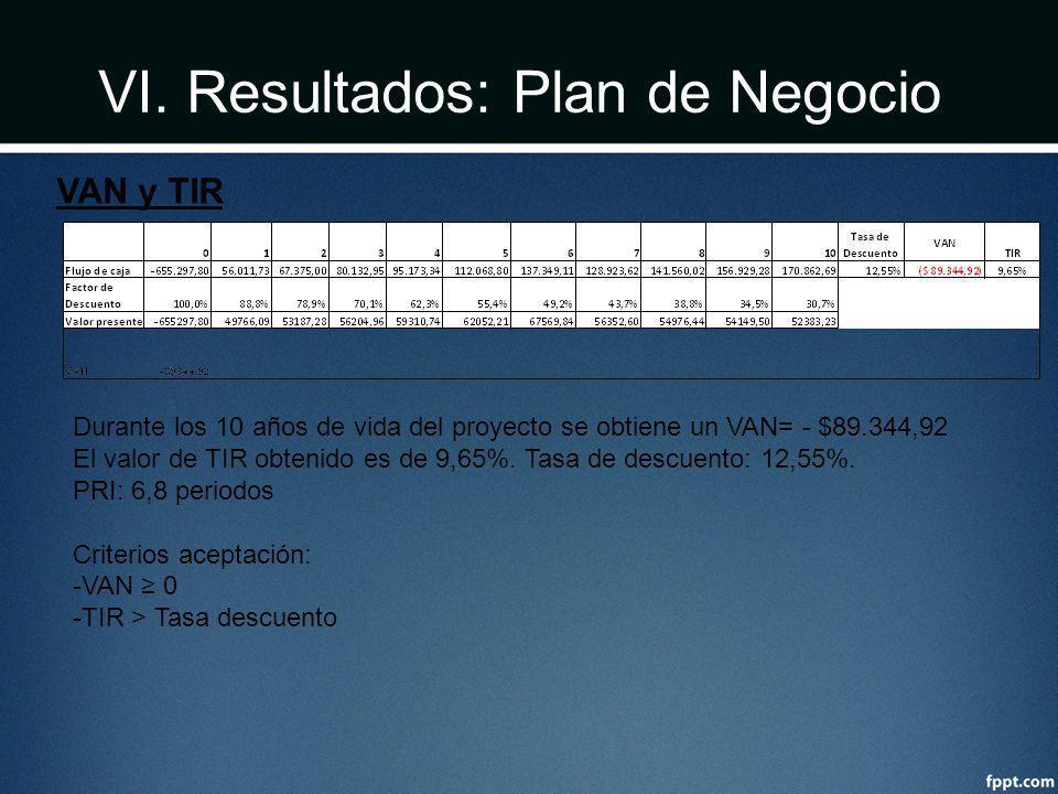 VI. Resultados: Plan de Negocio