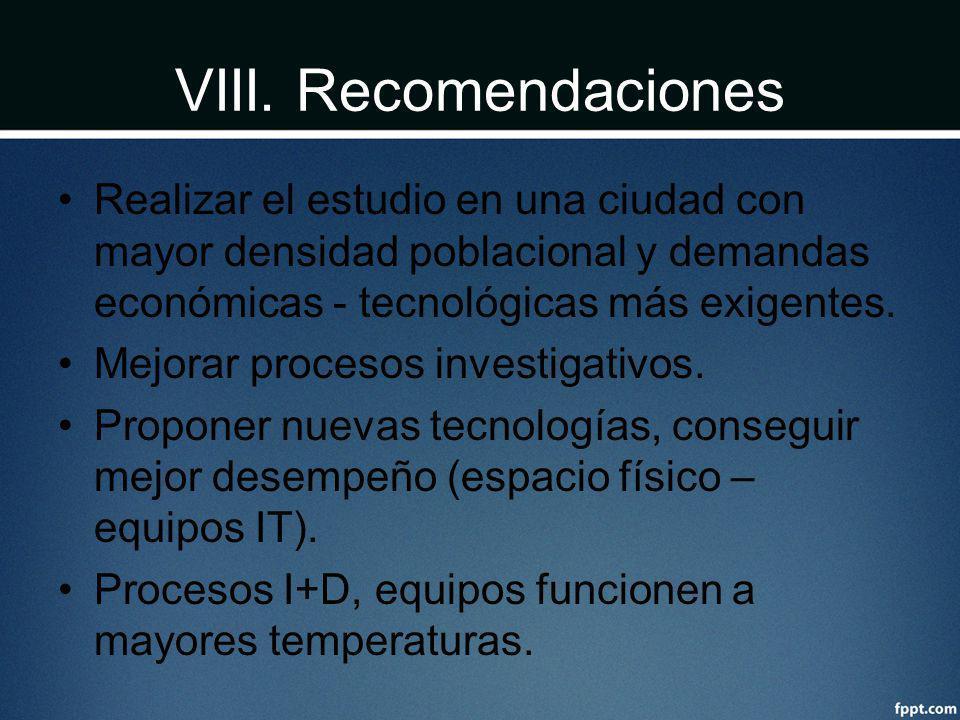 VIII. Recomendaciones Realizar el estudio en una ciudad con mayor densidad poblacional y demandas económicas - tecnológicas más exigentes.