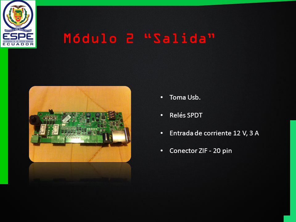 Módulo 2 Salida Toma Usb. Relés SPDT Entrada de corriente 12 V, 3 A