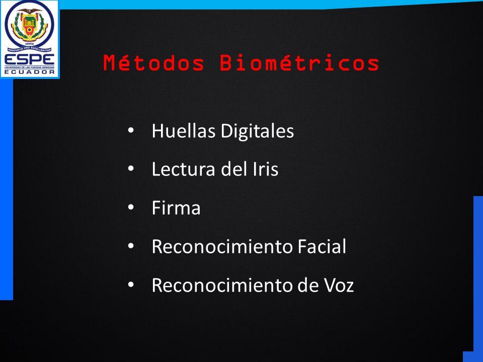 Métodos Biométricos Huellas Digitales Lectura del Iris Firma