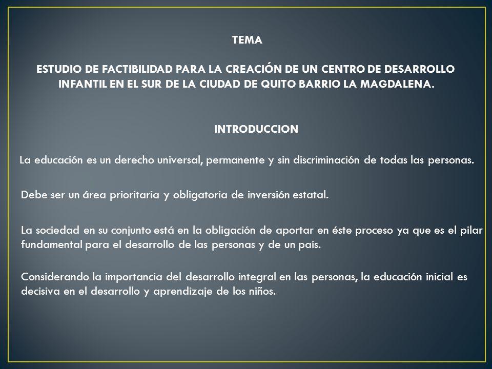 ESTUDIO DE FACTIBILIDAD PARA LA CREACIÓN DE UN CENTRO DE DESARROLLO