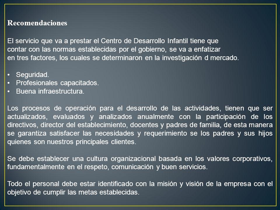 Recomendaciones El servicio que va a prestar el Centro de Desarrollo Infantil tiene que.