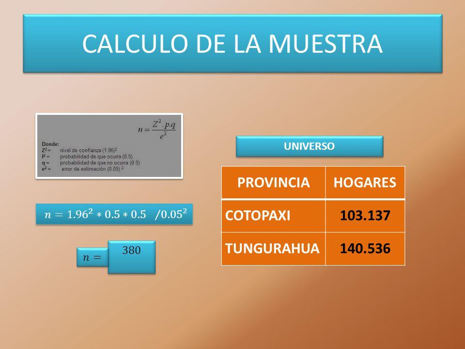 CALCULO DE LA MUESTRA PROVINCIA HOGARES COTOPAXI 103.137 TUNGURAHUA