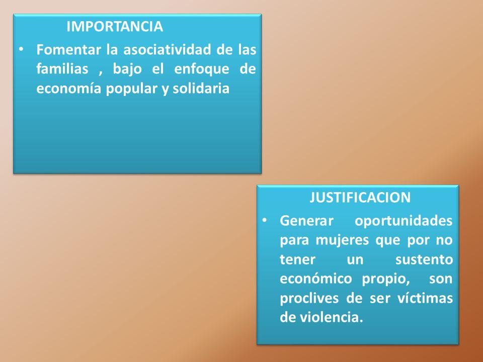 IMPORTANCIA Fomentar la asociatividad de las familias , bajo el enfoque de economía popular y solidaria.