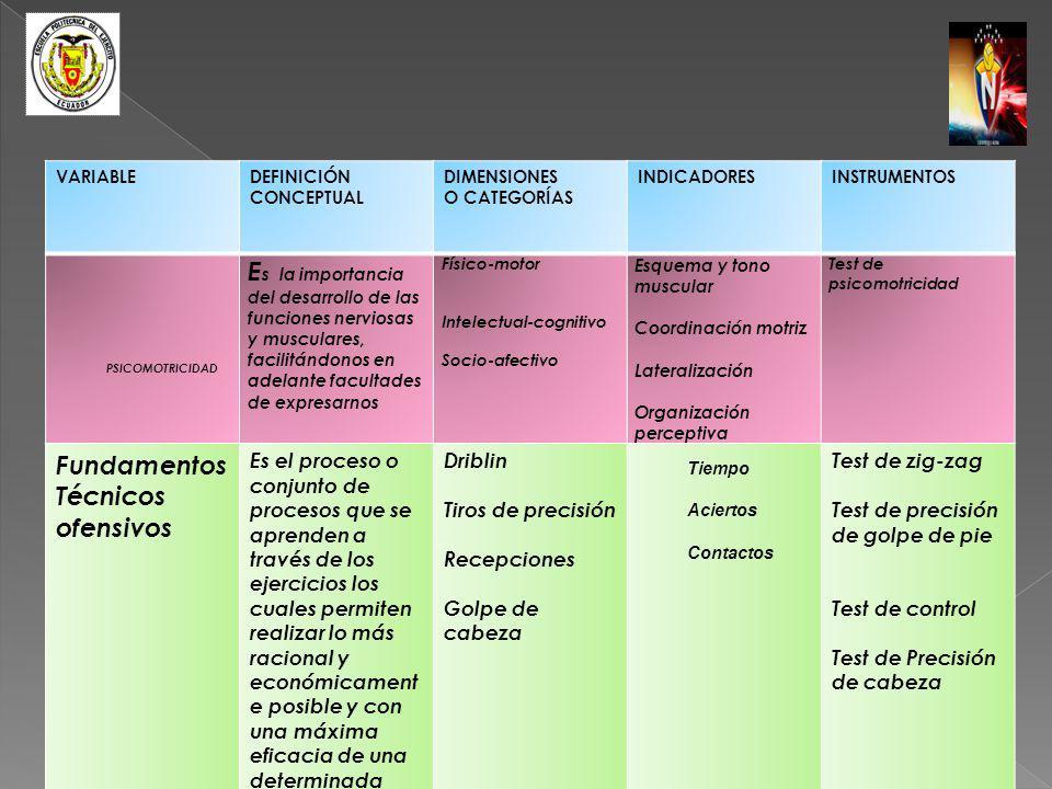 VARIABLE DEFINICIÓN. CONCEPTUAL. DIMENSIONES. O CATEGORÍAS. INDICADORES. INSTRUMENTOS. PSICOMOTRICIDAD.
