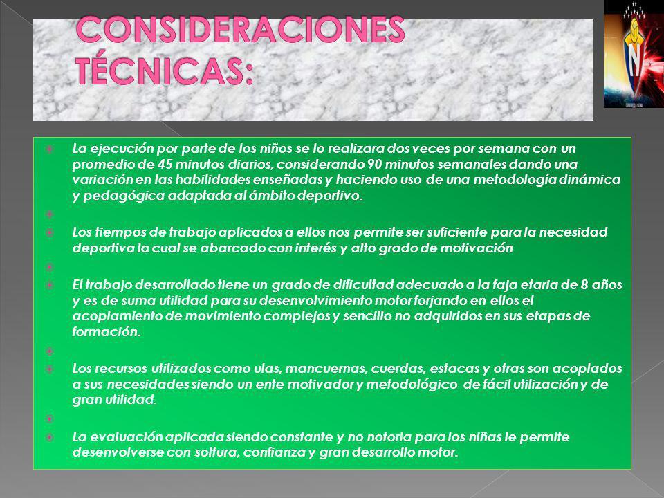 CONSIDERACIONES TÉCNICAS: