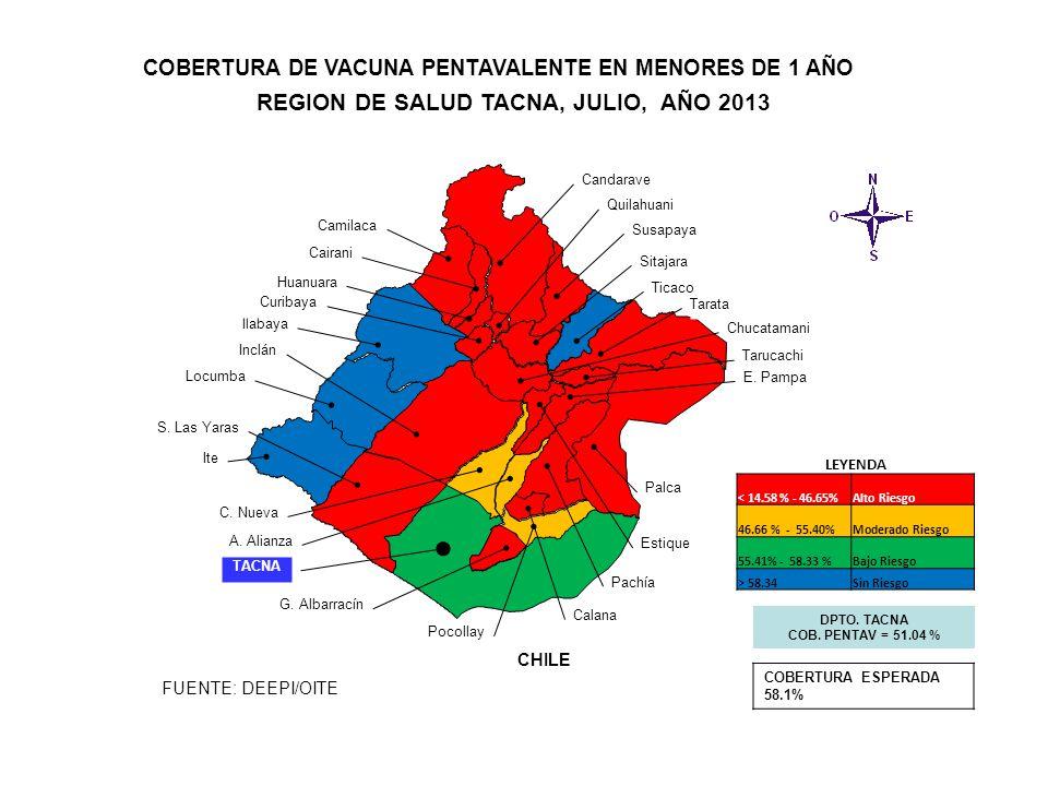 REGION DE SALUD TACNA, JULIO, AÑO 2013