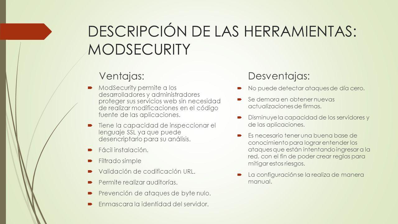 DESCRIPCIÓN DE LAS HERRAMIENTAS: MODSECURITY