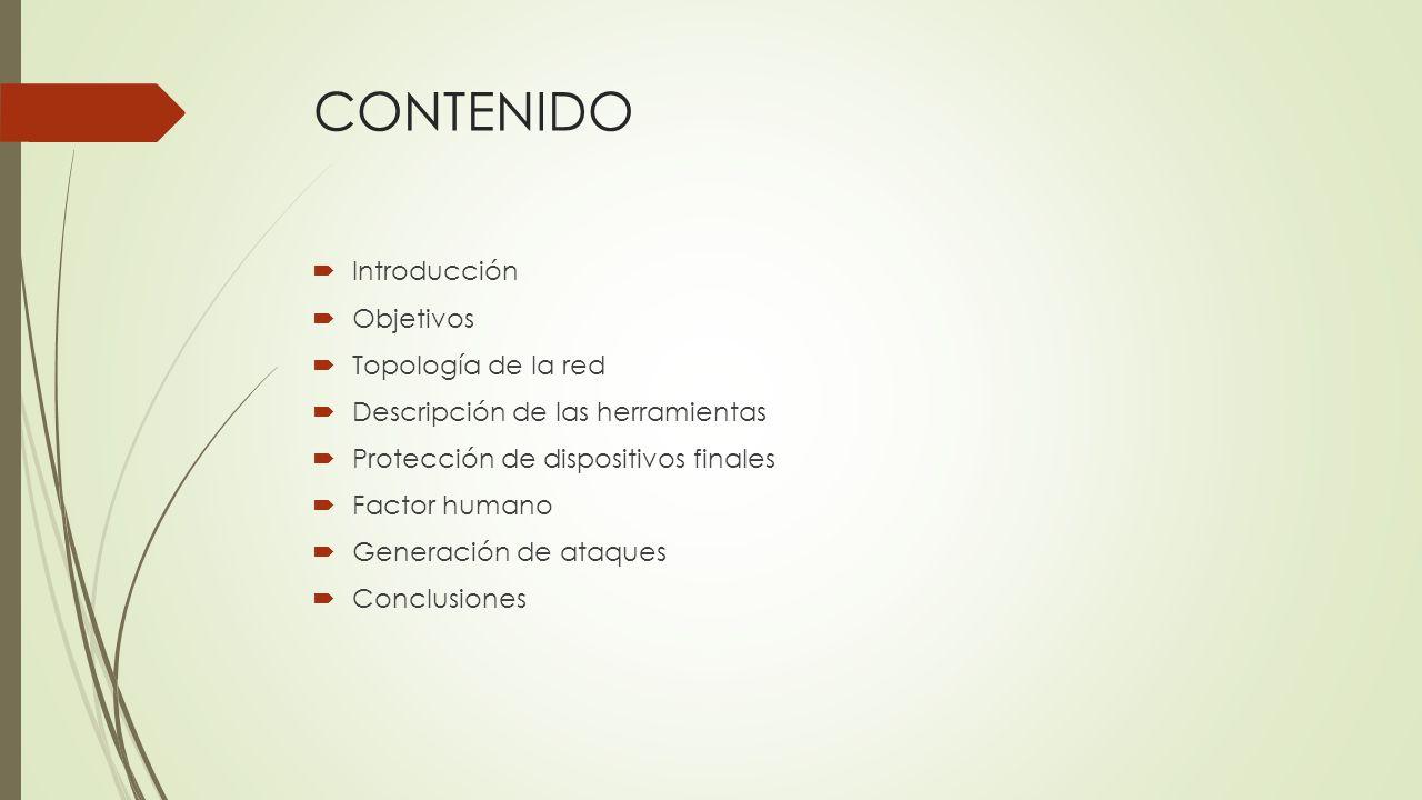CONTENIDO Introducción Objetivos Topología de la red
