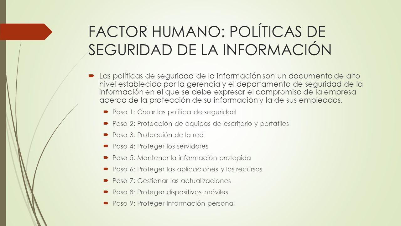 FACTOR HUMANO: POLÍTICAS DE SEGURIDAD DE LA INFORMACIÓN